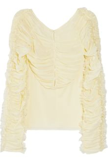 Zac Posen Ruffled Stretch Silkchiffon Top - Lyst