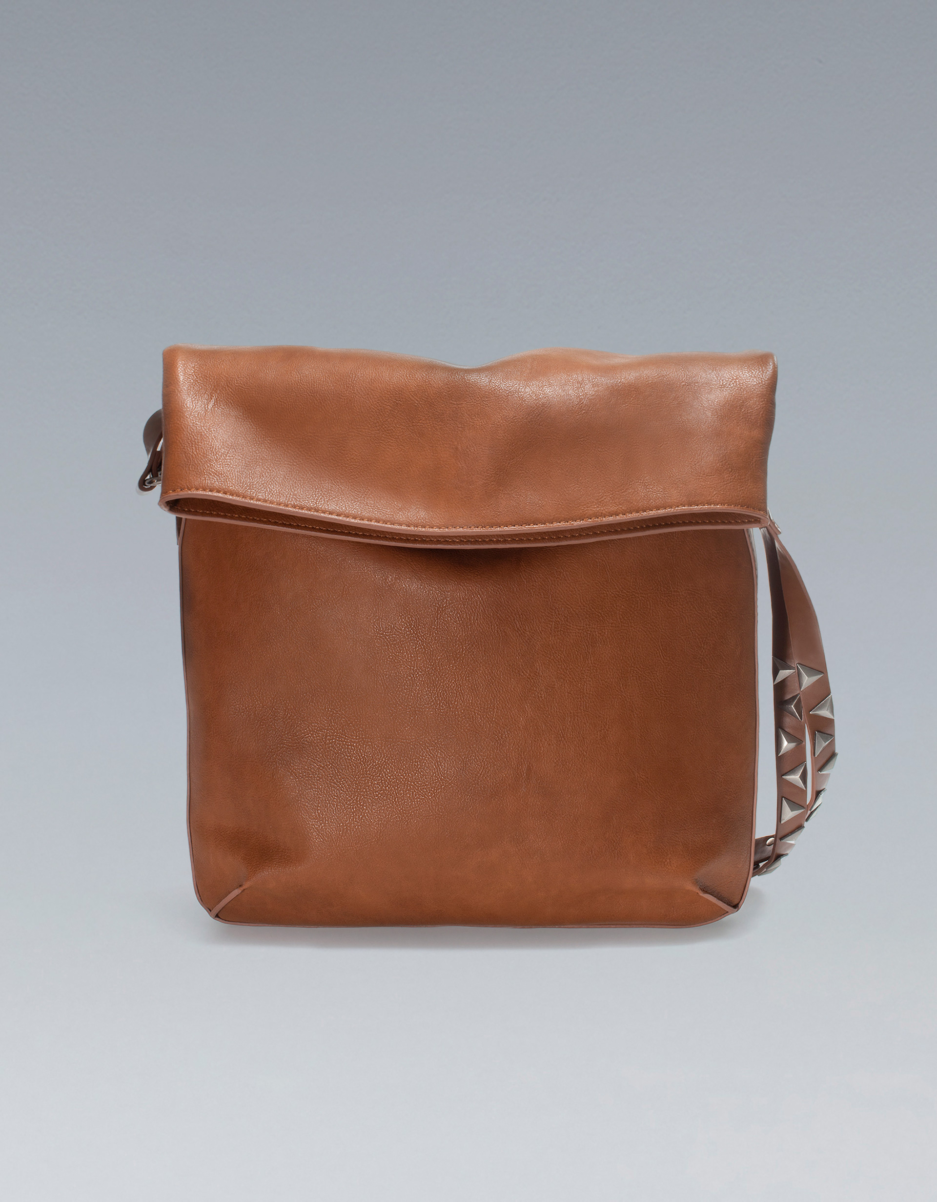 Zara Bucket Bag With Studded Handle In Brown Lyst