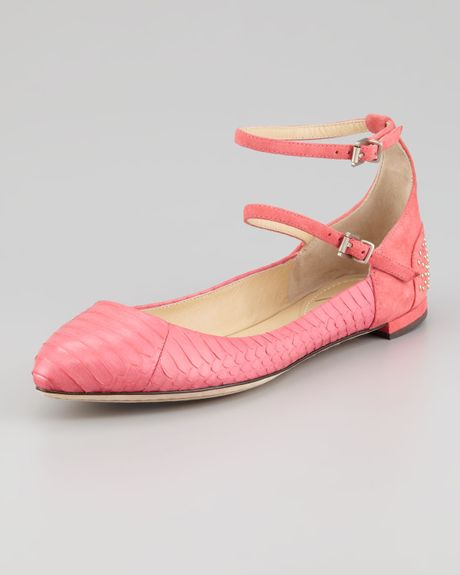 b brian atwood amata doublestrap ballerina flats in pink
