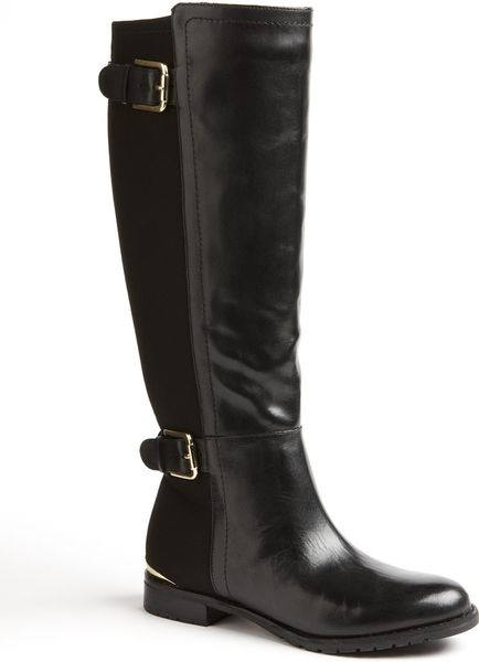 Isaac Mizrahi Amit Tall Stretch Leather Boots in Black (black leather)