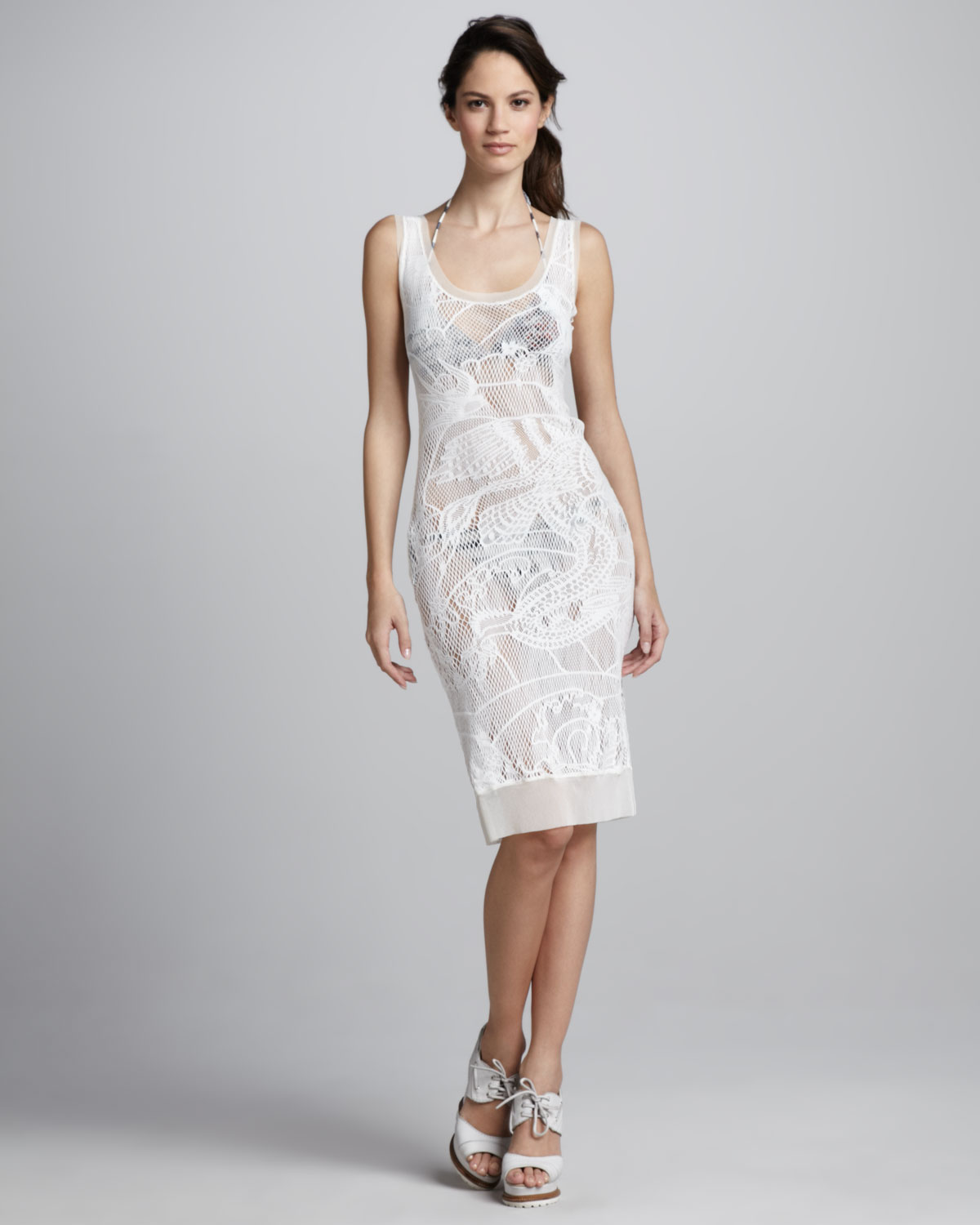 d25977f76d4 Jean Paul Gaultier Lace Cover-Up Tank Dress in White - Lyst