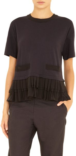 Marni Short Sleeve Pleated Hem Top - Lyst