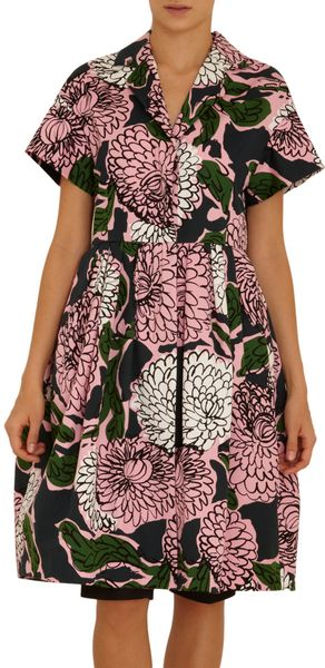 Marni Big Floral Print Short Sleeve Dress - Lyst