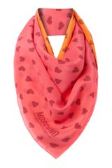 Moschino Cheap & Chic Heart Print Silk Square Scarf