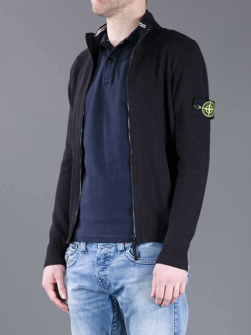 Lyst Stone Island Zip Up Knit In Black For Men