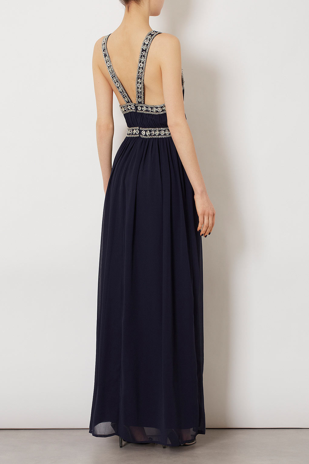 Topshop Embellished Panel Maxi Dress In Blue Lyst