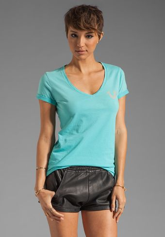 True Religion Jane V Neck Tee - Lyst
