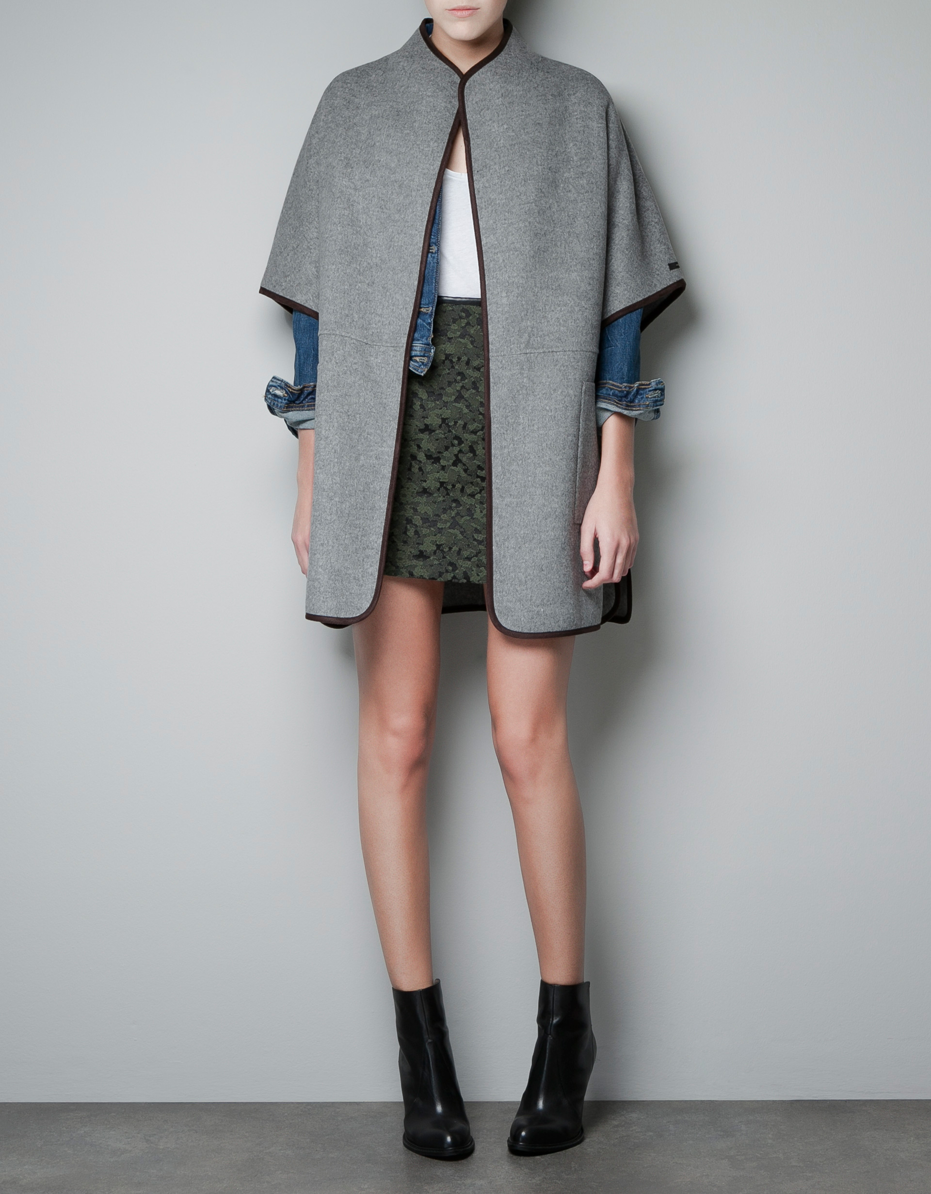 zara hand made cape in gray lyst. Black Bedroom Furniture Sets. Home Design Ideas