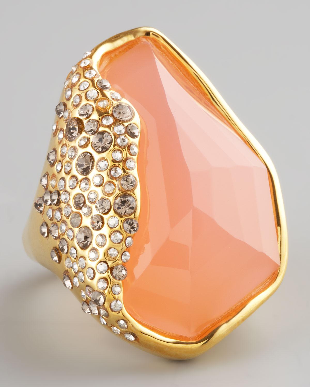 Alexis Bittar Rose Quartz Ring In Metallic Lyst