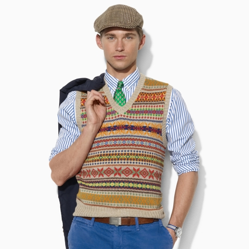 Polo ralph lauren Fair Isle Sweater Vest in Natural for Men | Lyst