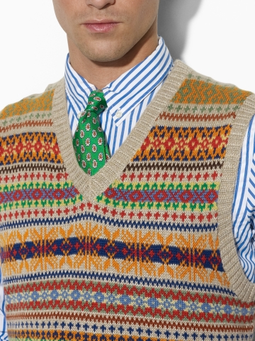 Lyst - Polo Ralph Lauren Fair Isle Sweater Vest in Natural for Men