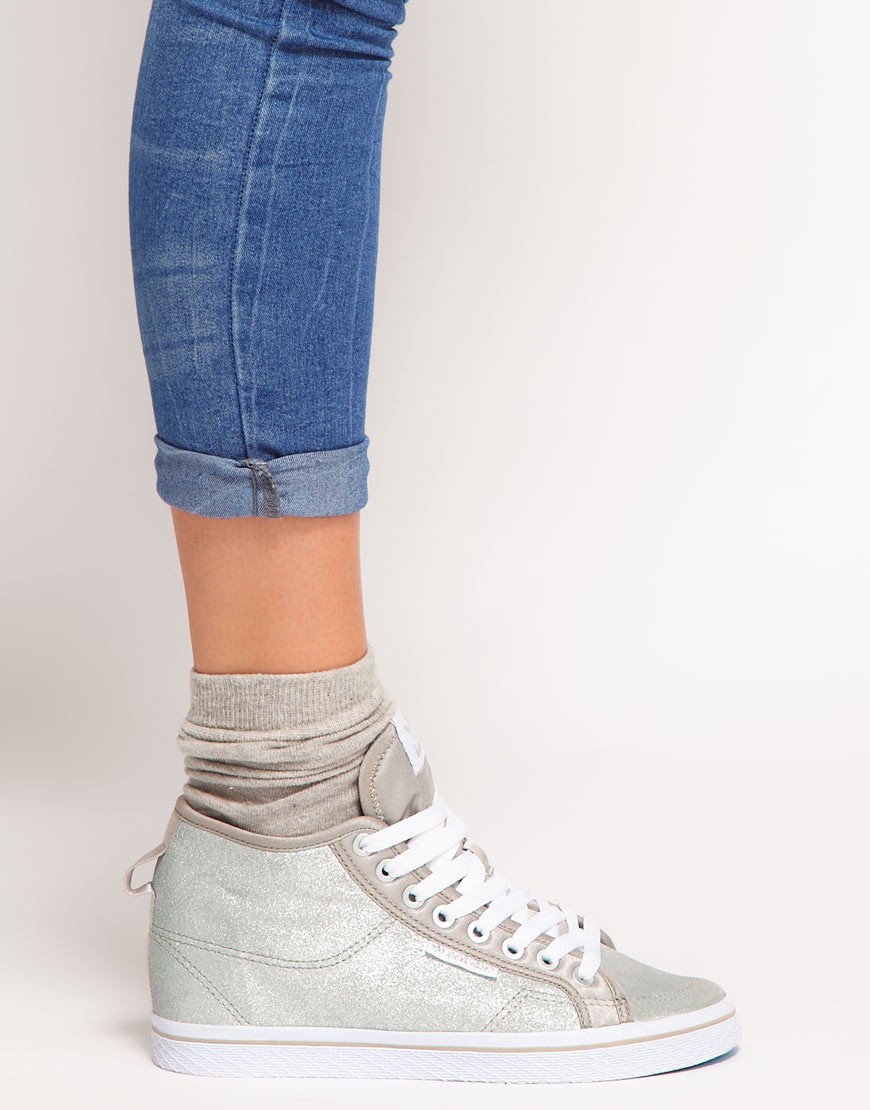 f1a2ba85c54 Lyst - adidas Honey Heel Hidden Wedge Silver Trainers in Metallic