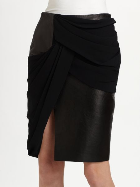 wang draped leather pencil skirt in black lyst