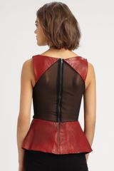 Alice + Olivia Leather Peplum Top