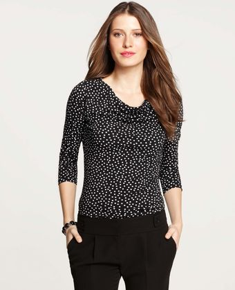 Ann Taylor Dot Print Drape Neck Top - Lyst