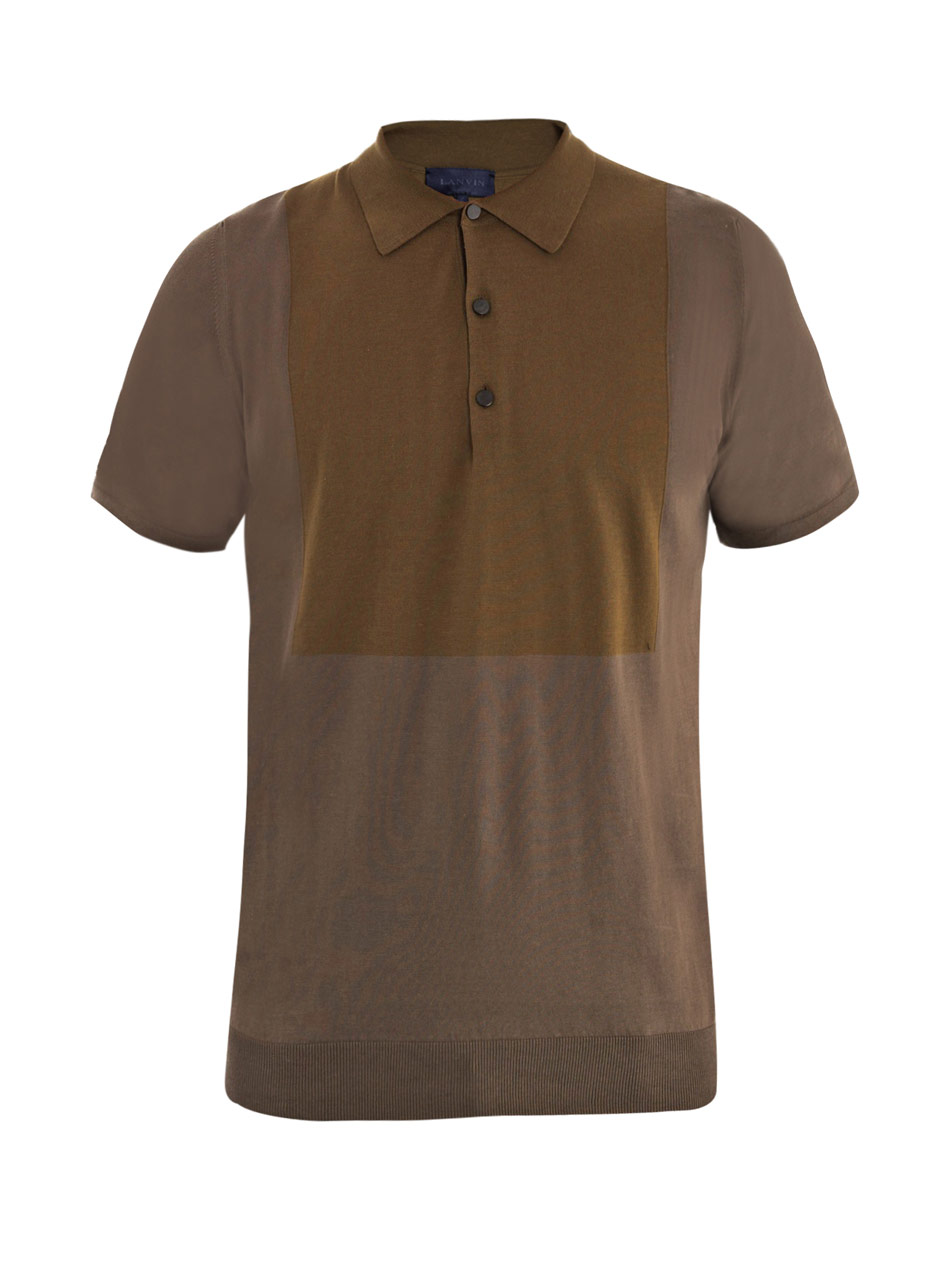 Lanvin Contrast Bib Knit Polo Top In Green For Men Olive