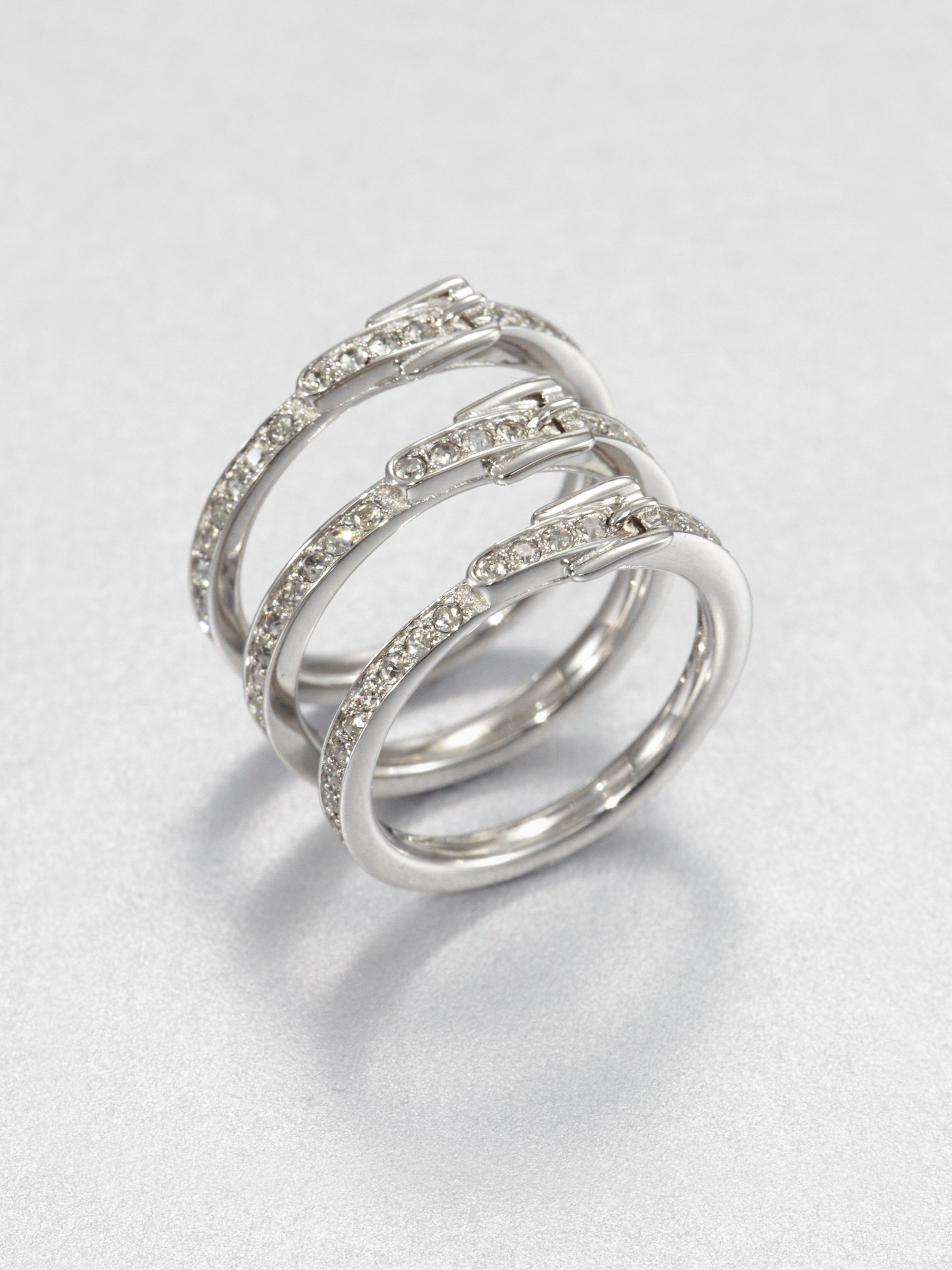 michael kors buckle stack ring set in silver lyst