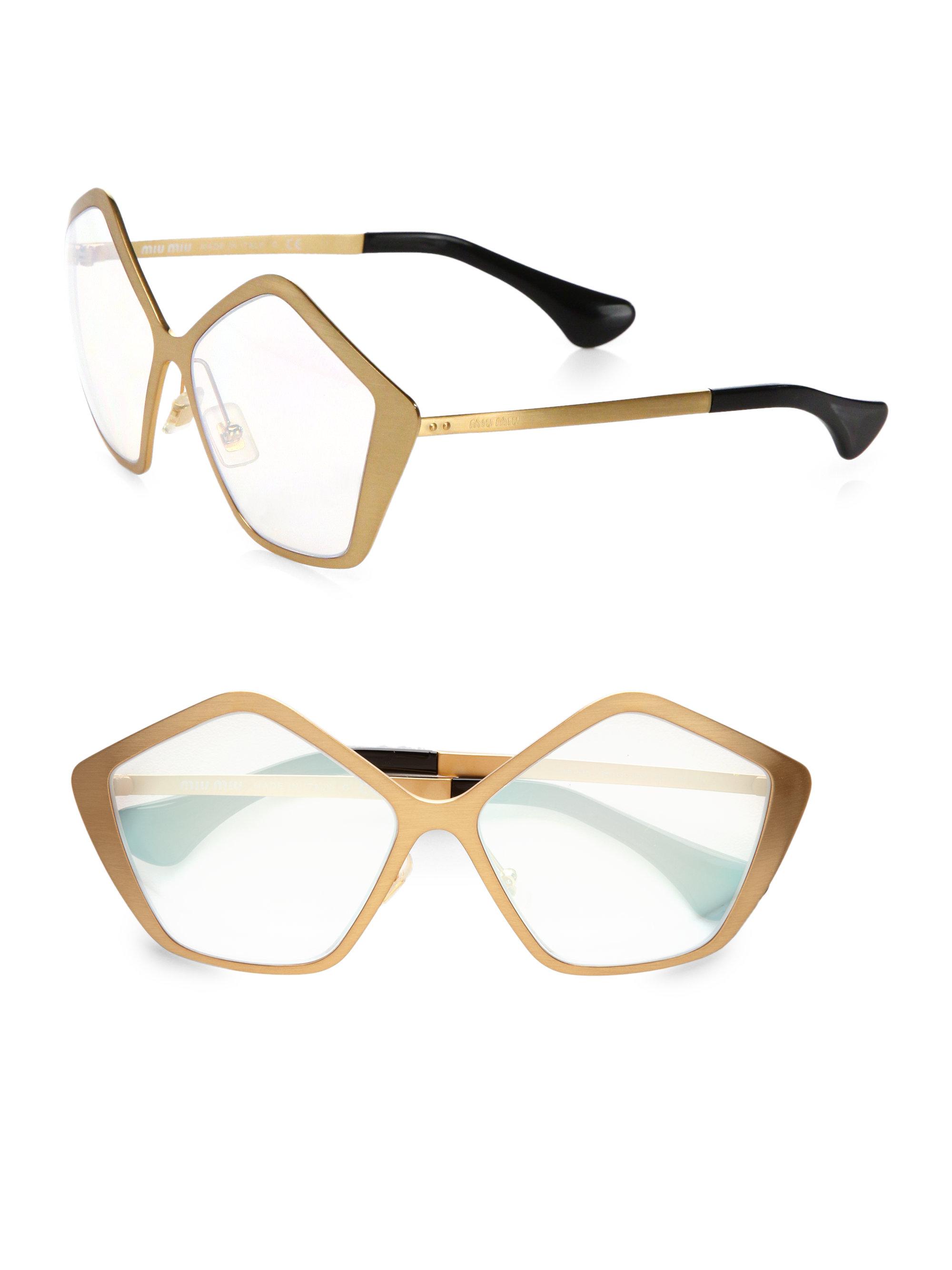 e8b69354632 Lyst - Miu Miu Brushed Gold Metal Culte Star Sunglasses in Metallic