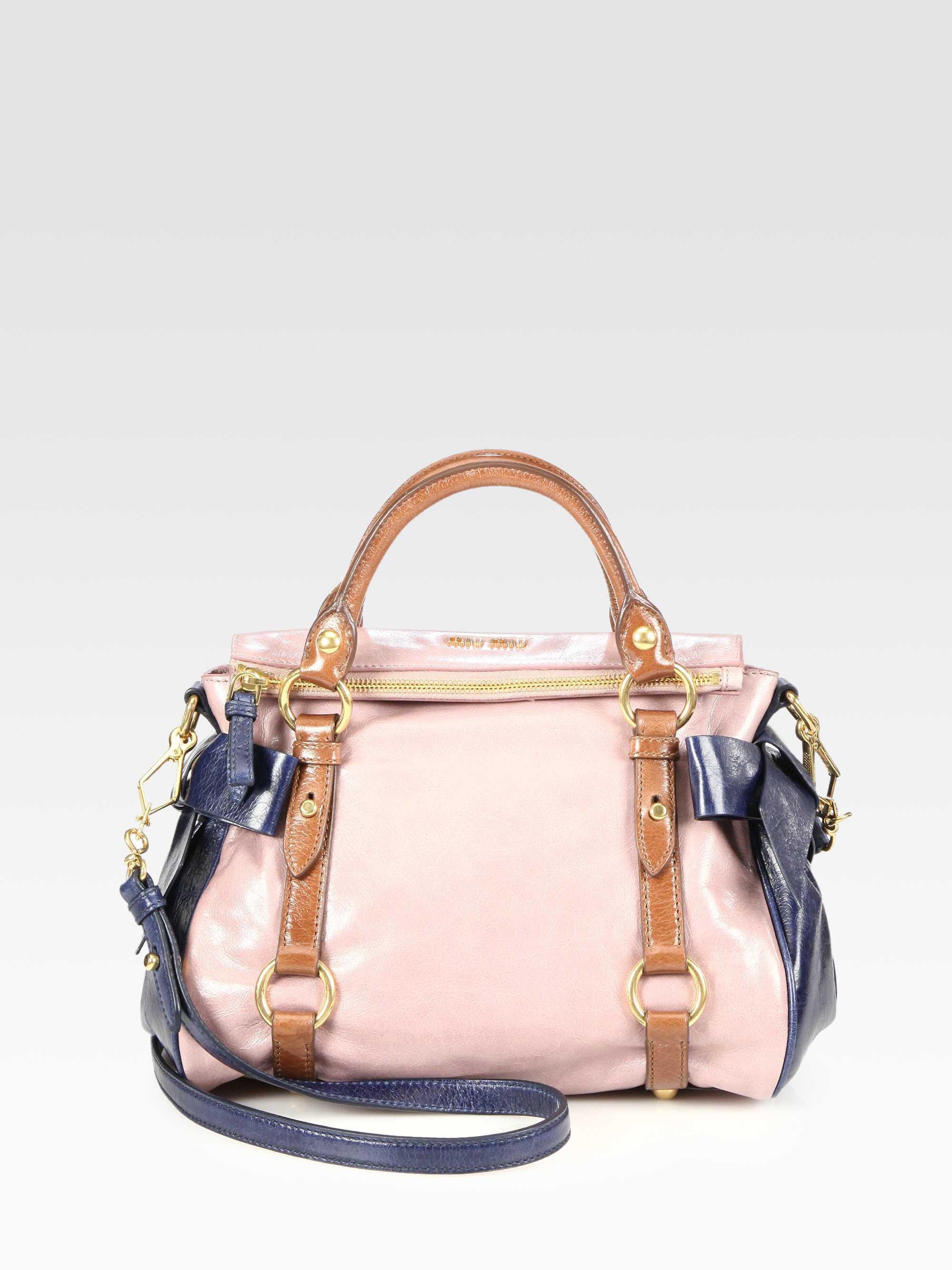 eab8dcf62975 Lyst - Miu Miu Vitello Lux Small Bow Satchel in Pink