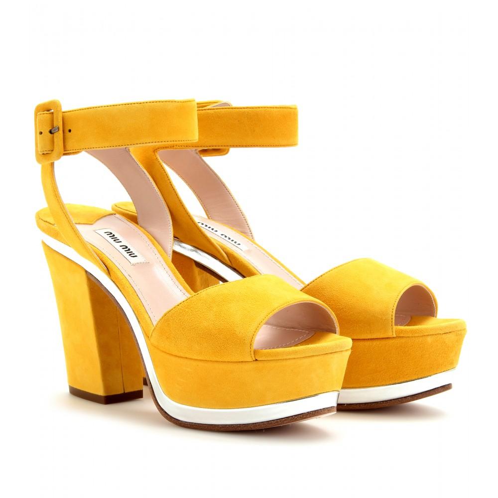 Lyst - Miu Miu Suede Platform Sandals in Yellow