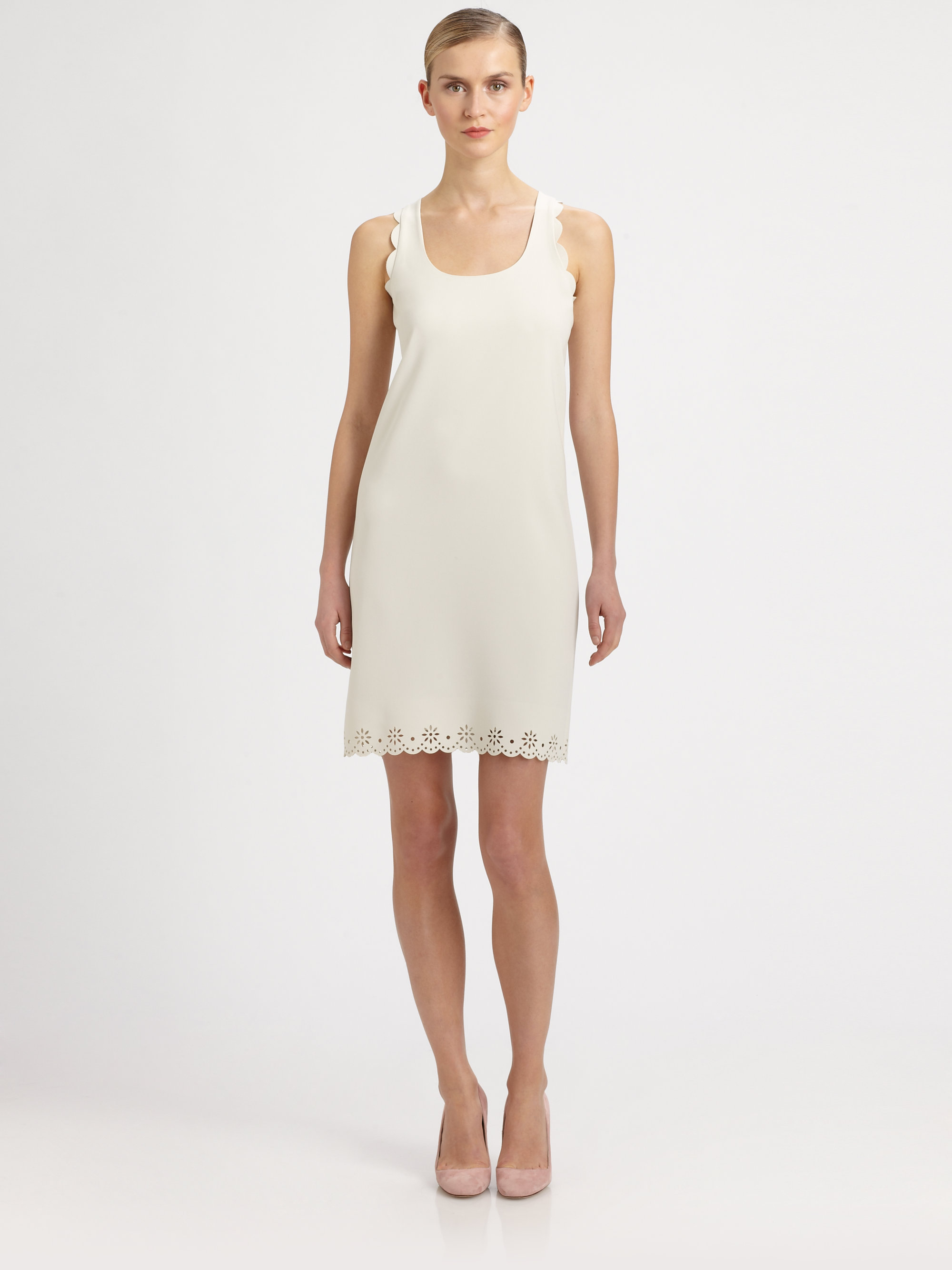 Moschino cheap chic scallop dress in white lyst Inexpensive chic
