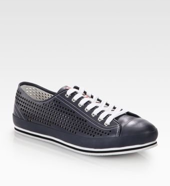 Prada Nevada Cutout Leather Sneakers - Lyst