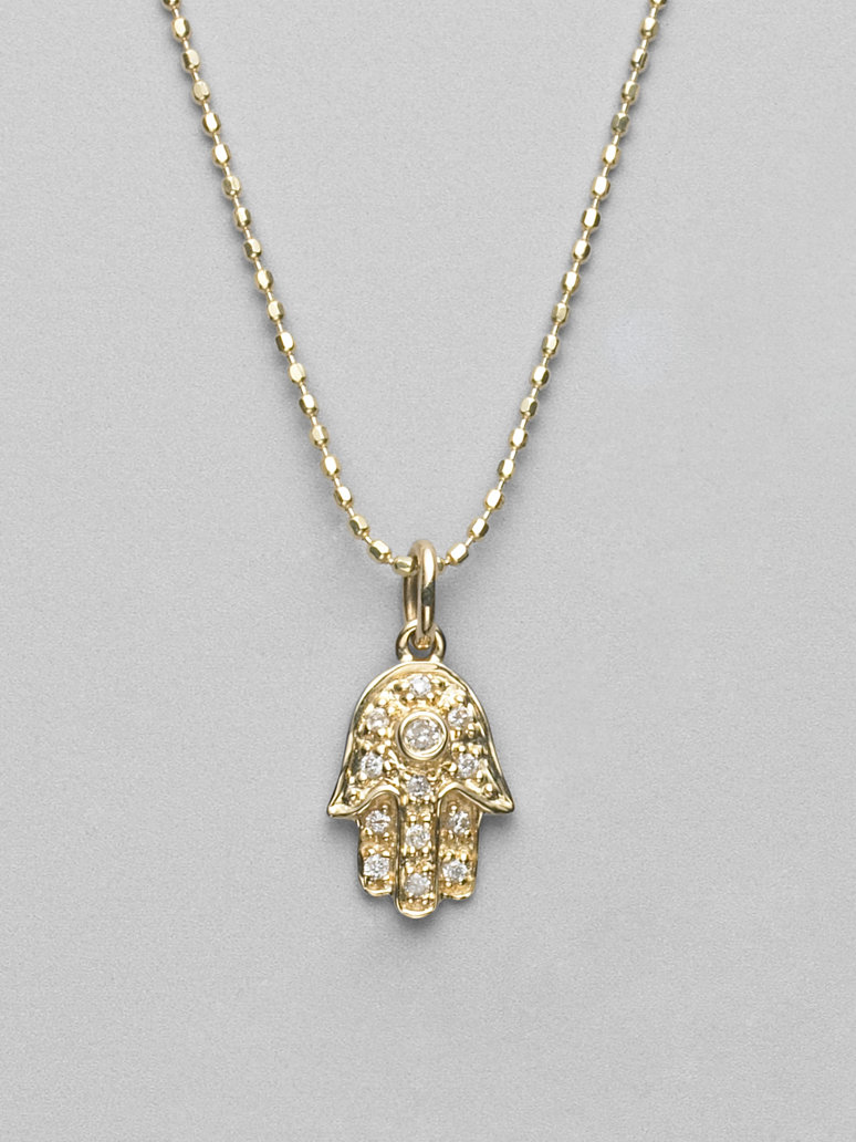 Lyst Sydney Evan Diamond 14k Yellow Gold Hamsa Necklace