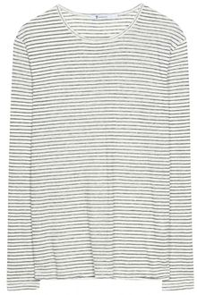 T By Alexander Wang Striped Linen Long Sleeve Top - Lyst