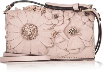 Valentino Floral appliquéd Leather Mini Shoulder Bag - Lyst