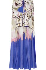 Vera Wang Printed Stretch Cotton and Silk Blend Maxi Skirt - Lyst