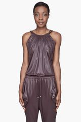 Versus  Dark Taupe Highgloss Jersey Tank Top - Lyst