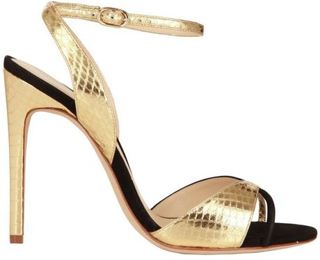 Alexandre Birman 110mm Suede and Water Snake Sandals in Gold (gold/black) - Lyst