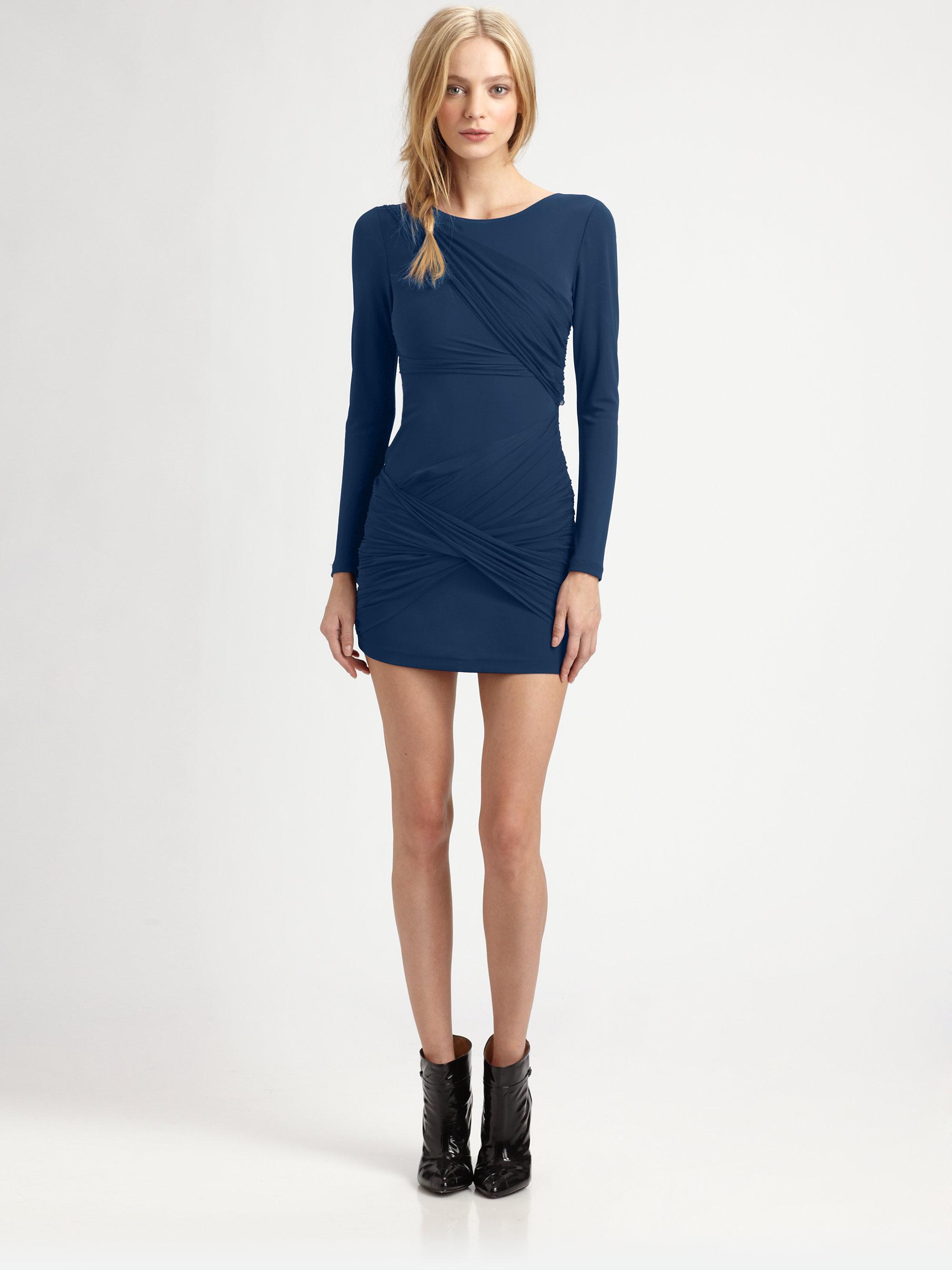 Alice   olivia Long-sleeve Goddess Dress in Blue | Lyst