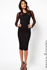 Asos Bodycon with Lace Insert in Black - Lyst