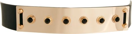 Asos Gem Plate Waist Belt in Gold (black)