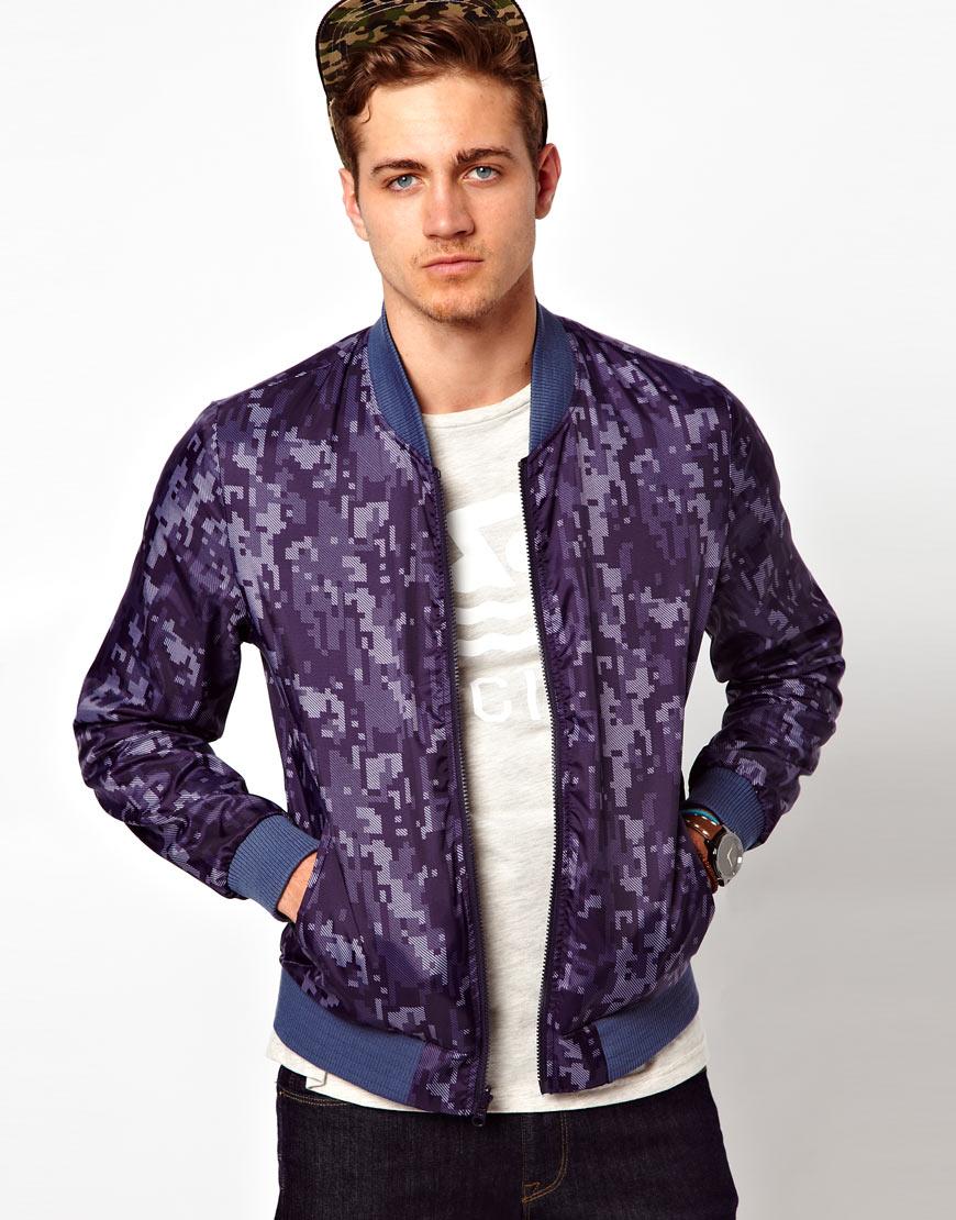 Asos Reversible Bomber Jacket in Purple for Men | Lyst