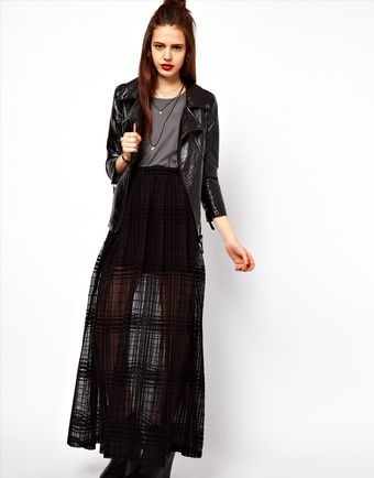 ASOS Collection  Maxi Skirt in Sheer Check - Lyst