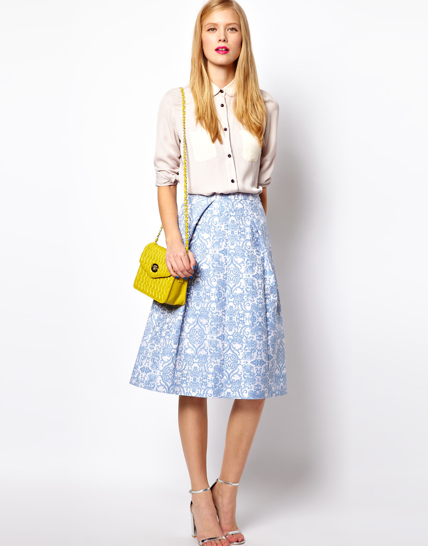 Asos collection Midi Skirt in Jacquard in Blue | Lyst