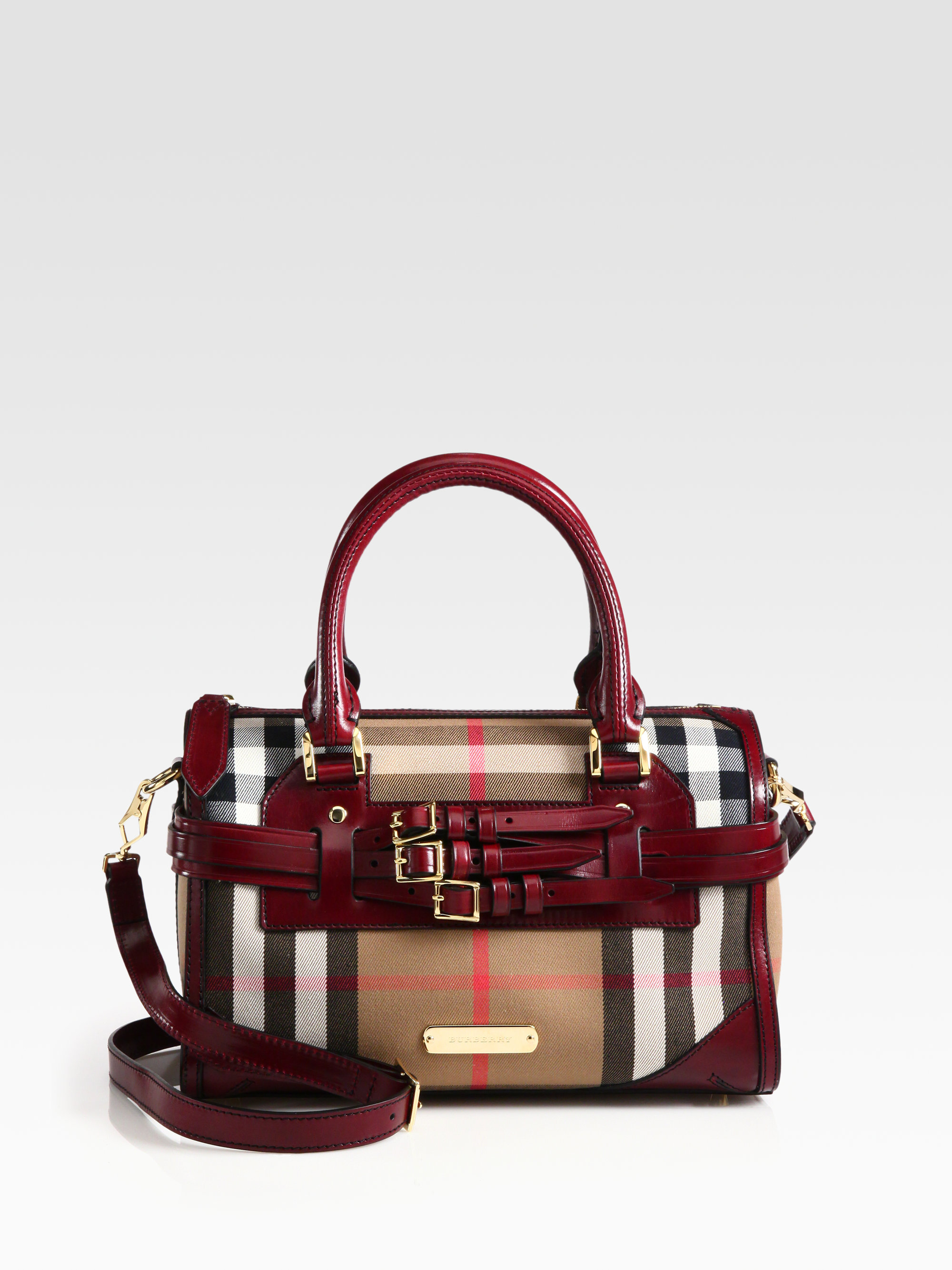Lyst - Burberry Alchester Mixedmedia Bridle Satchel in Brown 8454a1e7f171b
