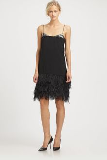 By Malene Birger Crepe Ostrich Feather Dress - Lyst