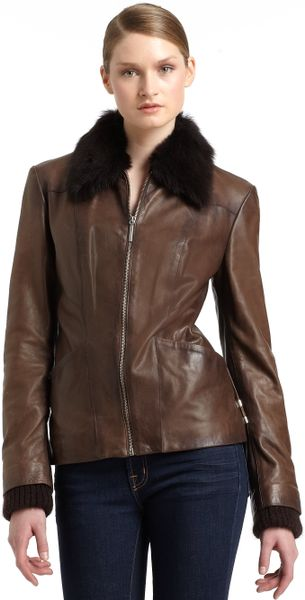 Costume National Leather Laceup Fur Trim Jacket in Brown   Lyst