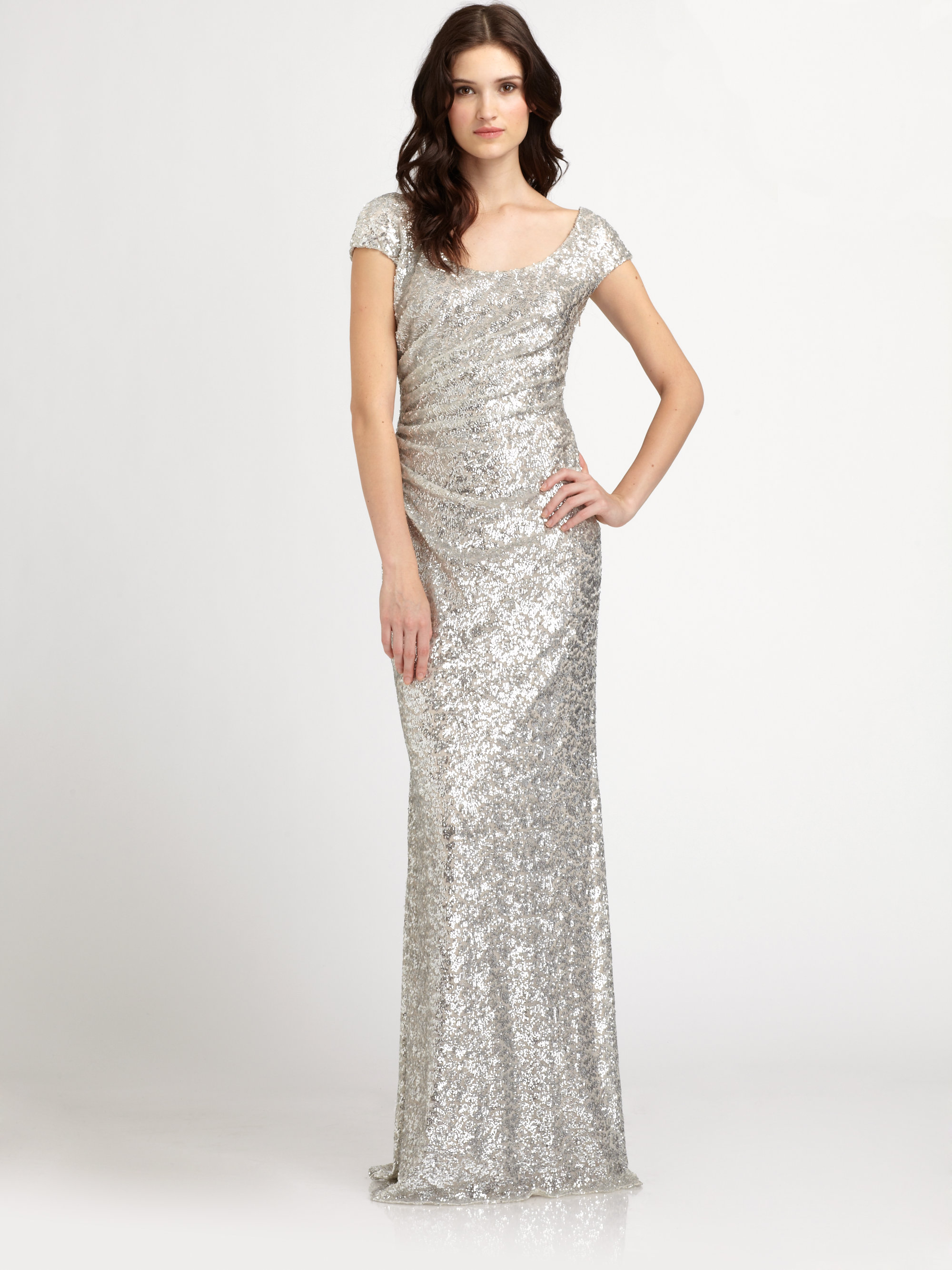 acdeb07582 Lyst - David Meister Sequined Gown in Metallic