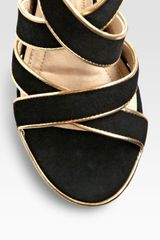 Diane Von Furstenberg Strappy Suede and Metallic Leather Platform Sandals in Black - Lyst