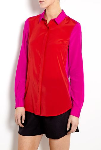 DKNY Two Tone Collared Blouse - Lyst