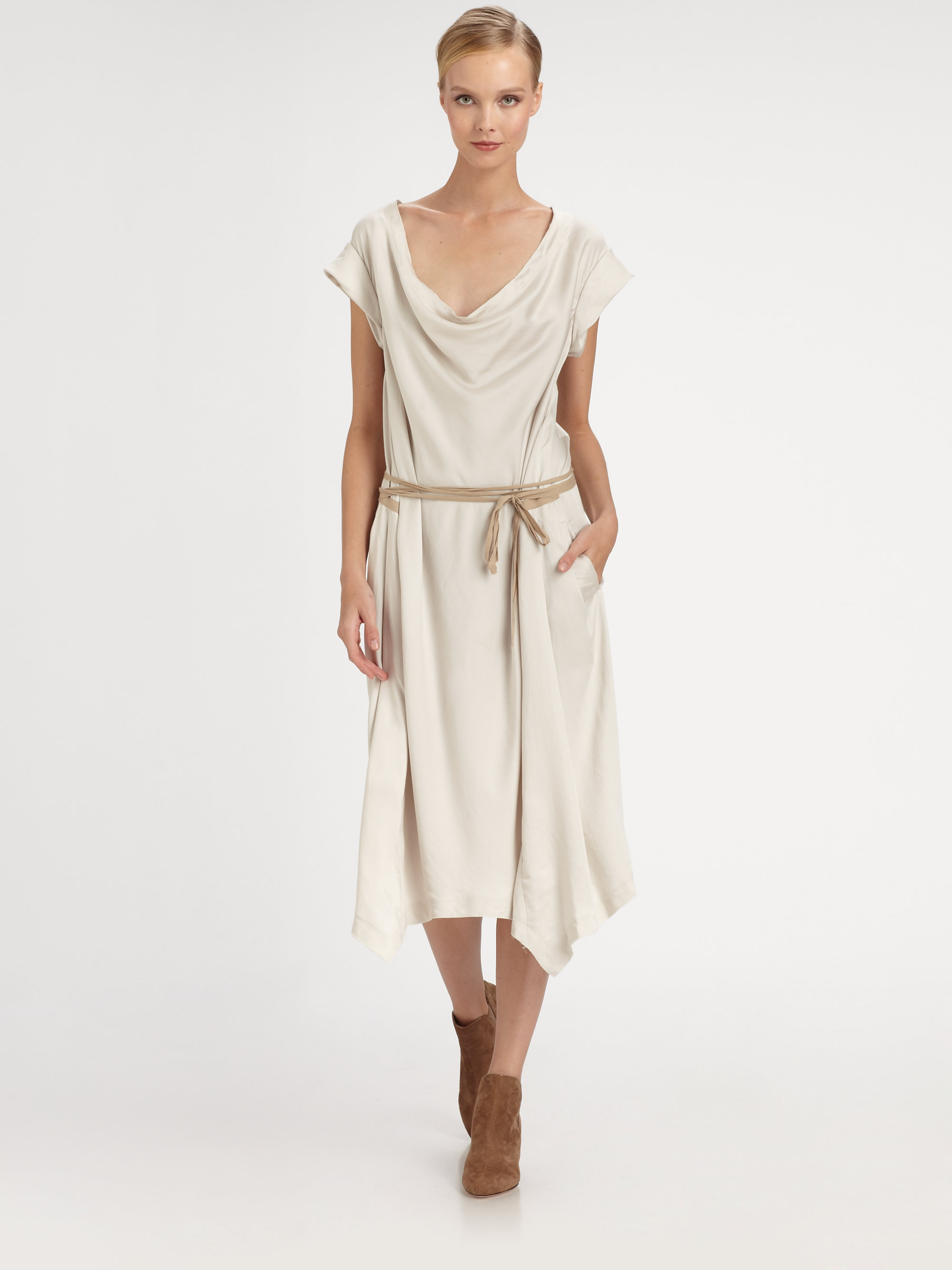 Donna karan new york drape front dress in beige porcelain for Donna karen new york