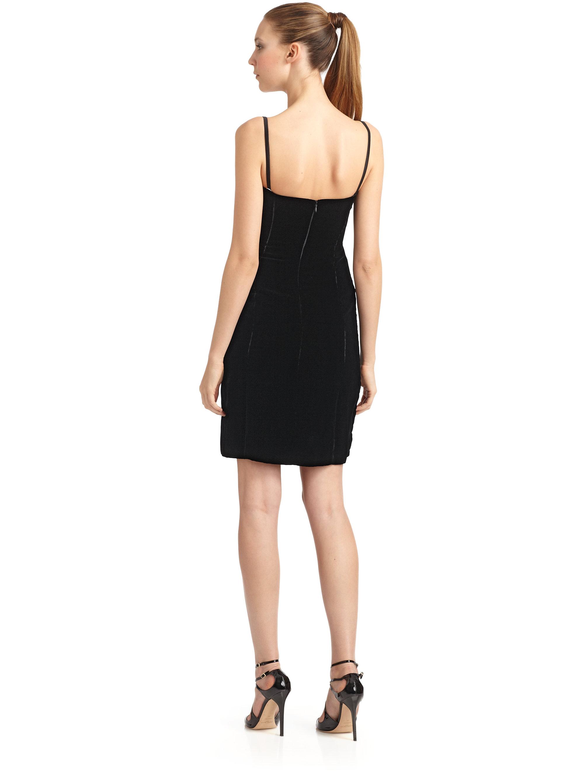 Lyst - Giorgio Armani Wool Silk Velvet Rosette Cocktail Dress in Black