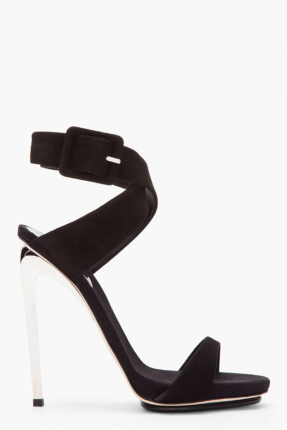 Giuseppe zanotti Black Suede and Silver Alien 115 Heels in Black ...