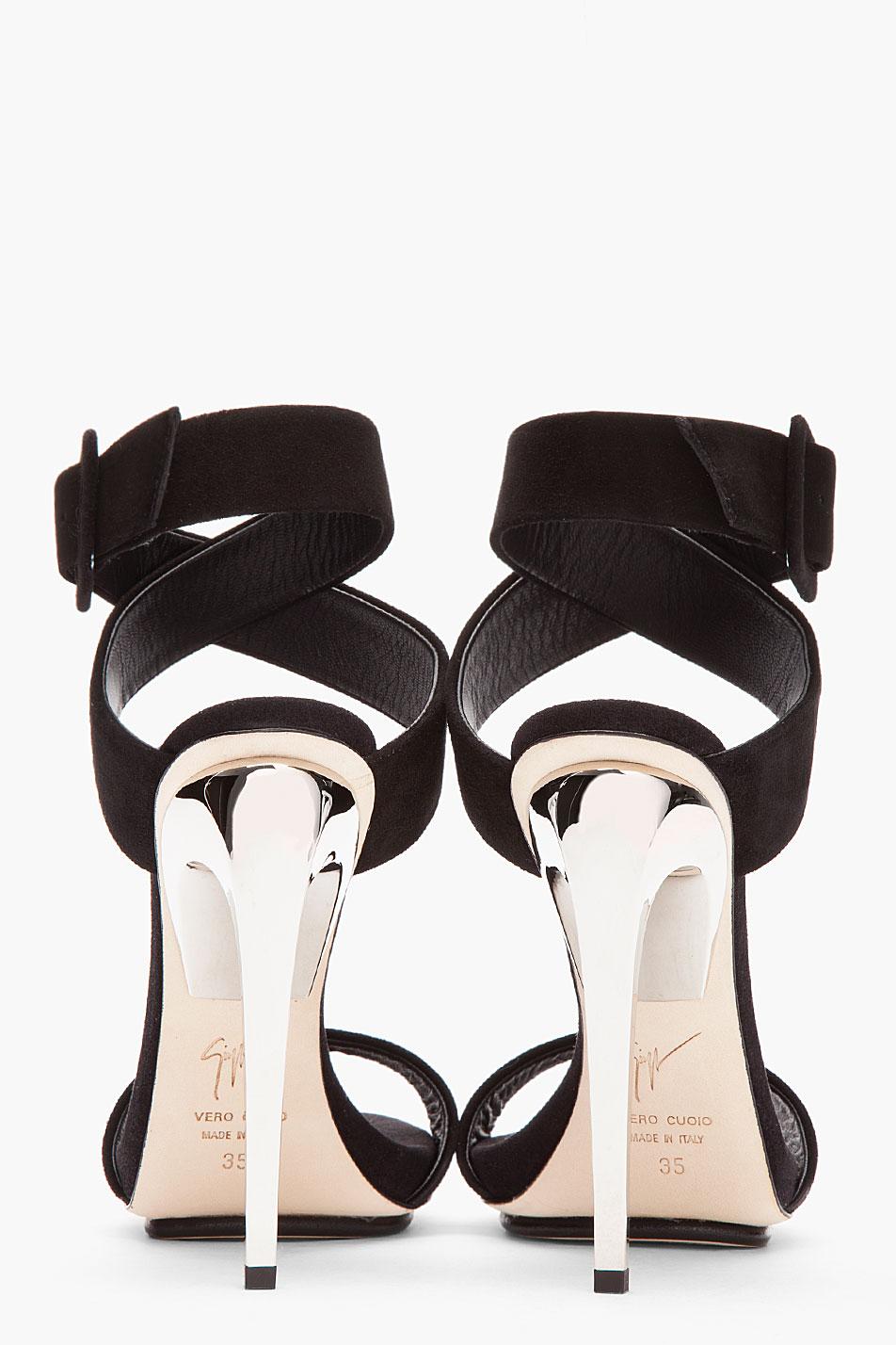b8be0f94954 Lyst - Giuseppe Zanotti Black Suede and Silver Alien 115 Heels in Black