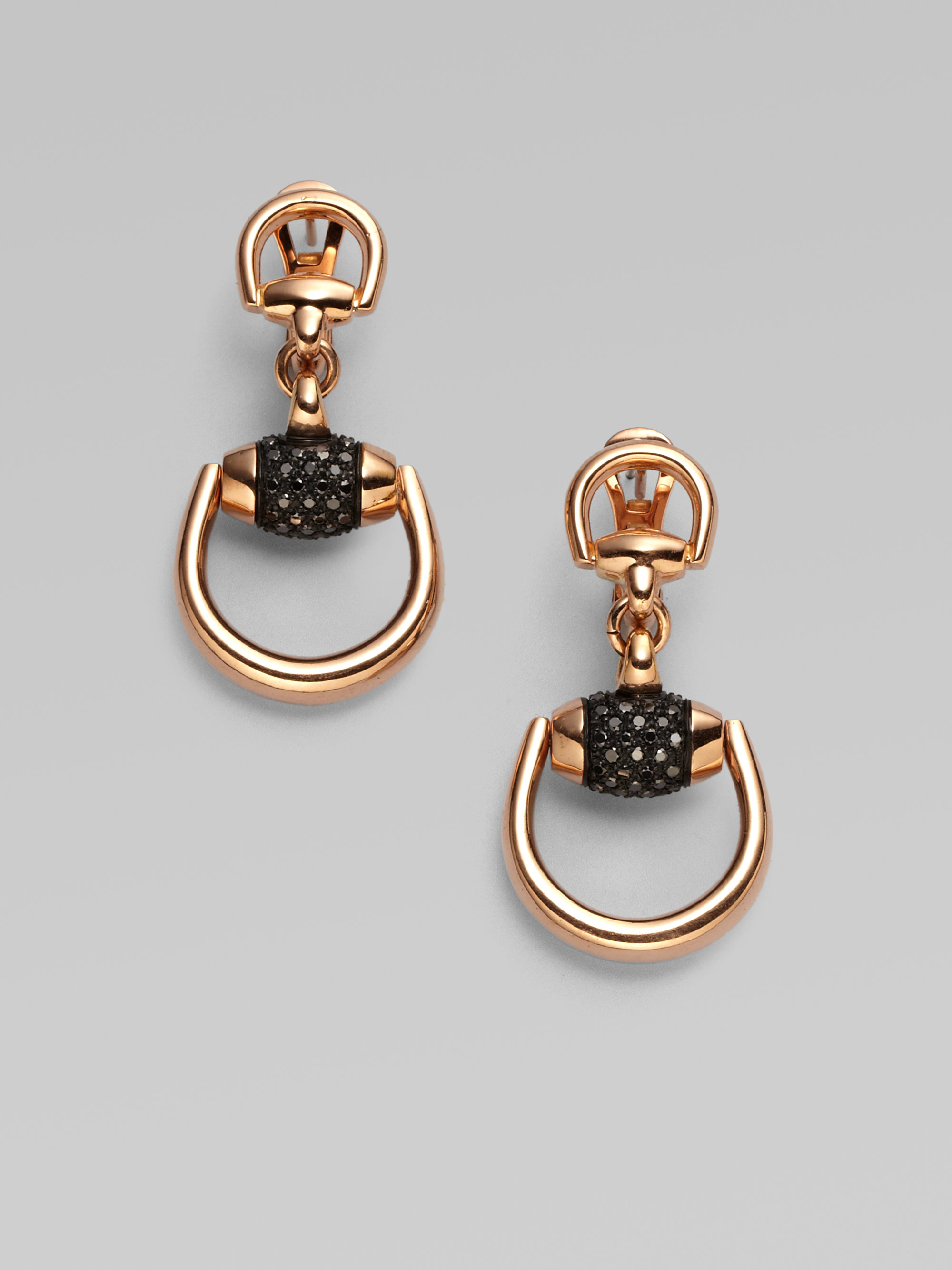 7fea0e1a4 Gucci Horsebit Black Diamond & 18k Rose Gold Drop Earrings in ...