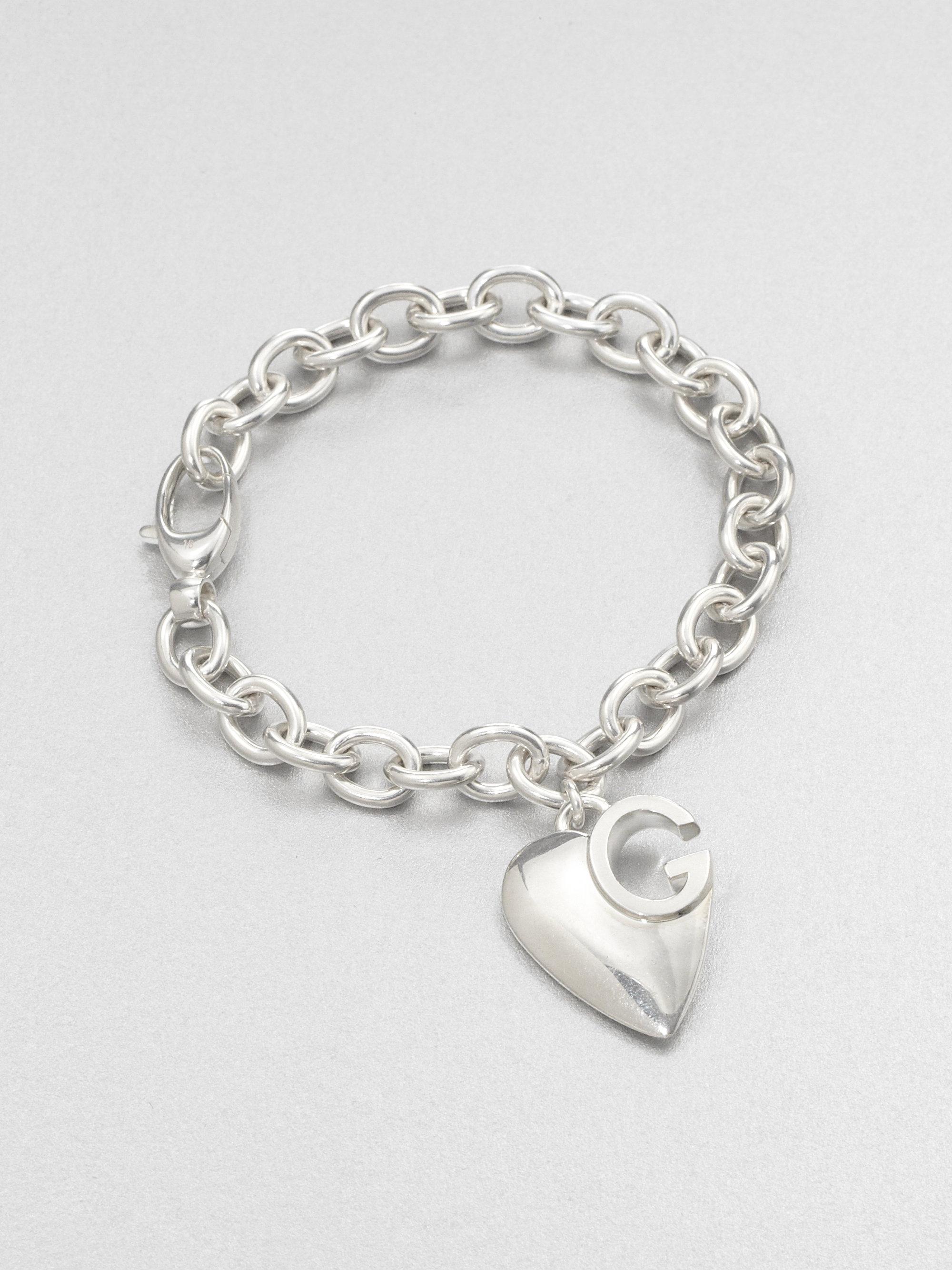 lyst gucci sterling silver heart charm bracelet in metallic. Black Bedroom Furniture Sets. Home Design Ideas